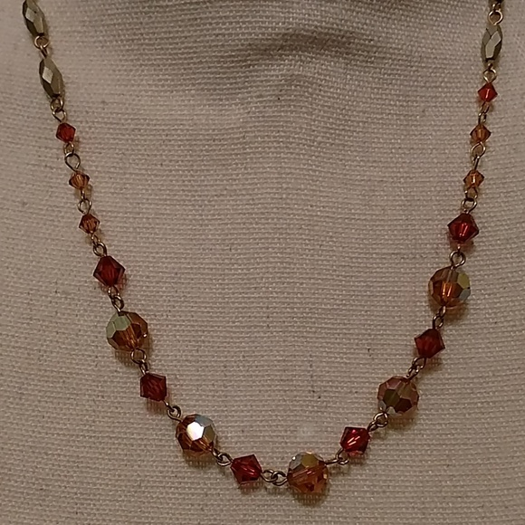"""Shades of fall 19"""" beaded necklace"""